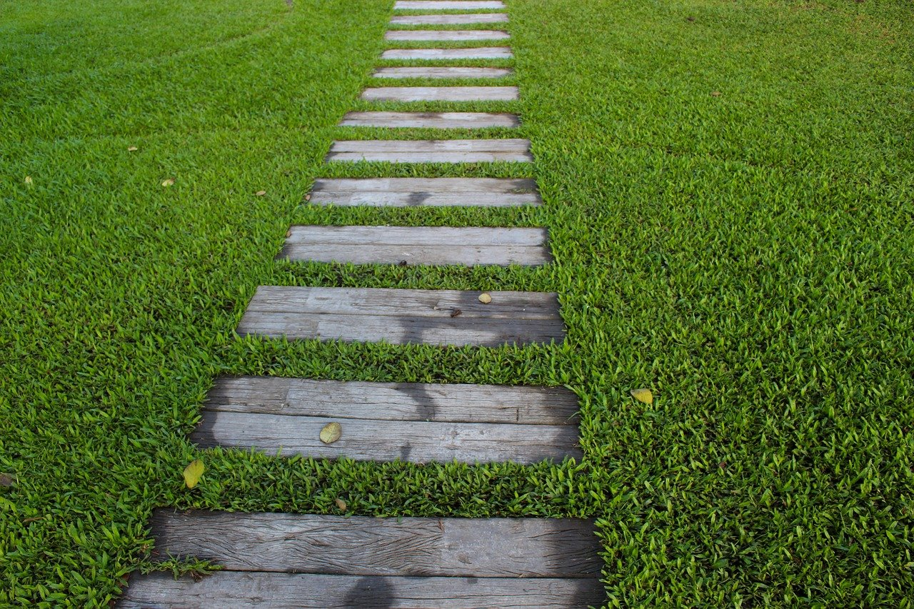 garden path, steps, garden